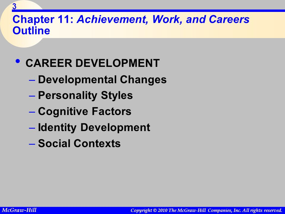 Copyright © 2010 The McGraw-Hill Companies, Inc. All rights reserved. McGraw-Hill 3 Chapter 11: Achievement, Work, and Careers Outline CAREER DEVELOPM