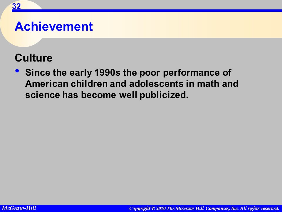 Copyright © 2010 The McGraw-Hill Companies, Inc. All rights reserved. McGraw-Hill 32 Achievement Culture Since the early 1990s the poor performance of