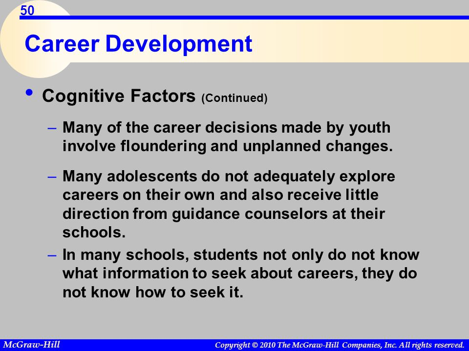 Copyright © 2010 The McGraw-Hill Companies, Inc. All rights reserved. McGraw-Hill 50 Career Development Cognitive Factors (Continued) –Many of the car