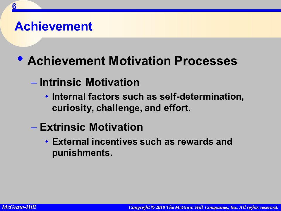 Copyright © 2010 The McGraw-Hill Companies, Inc. All rights reserved. McGraw-Hill 6 Achievement Achievement Motivation Processes –Intrinsic Motivation
