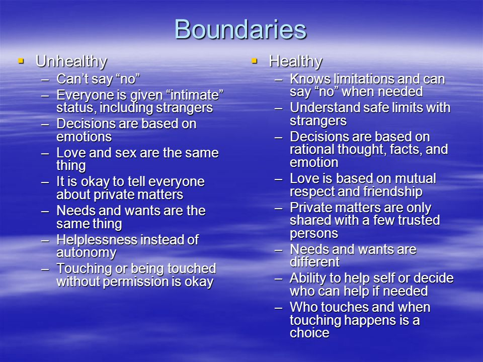 Boundaries  Unhealthy –Can't say no –Everyone is given intimate status, including strangers –Decisions are based on emotions –Love and sex are the same thing –It is okay to tell everyone about private matters –Needs and wants are the same thing –Helplessness instead of autonomy –Touching or being touched without permission is okay  Healthy –Knows limitations and can say no when needed –Understand safe limits with strangers –Decisions are based on rational thought, facts, and emotion –Love is based on mutual respect and friendship –Private matters are only shared with a few trusted persons –Needs and wants are different –Ability to help self or decide who can help if needed –Who touches and when touching happens is a choice