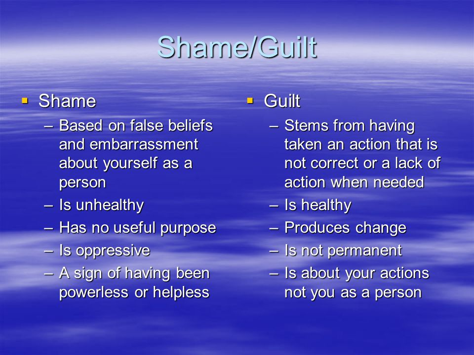 Shame/Guilt  Shame –Based on false beliefs and embarrassment about yourself as a person –Is unhealthy –Has no useful purpose –Is oppressive –A sign of having been powerless or helpless  Guilt –Stems from having taken an action that is not correct or a lack of action when needed –Is healthy –Produces change –Is not permanent –Is about your actions not you as a person