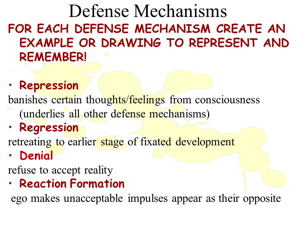Defense Mechanisms Id Super Ego When the inner war gets out of hand, the result is Anxiety Ego protects itself via Defense Mechanisms Defense Mechanisms Defense Mechanisms reduce/redirect anxiety by distorting reality