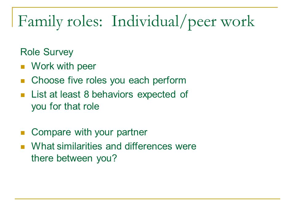 Family roles: Individual/peer work Role Survey Work with peer Choose five roles you each perform List at least 8 behaviors expected of you for that role Compare with your partner What similarities and differences were there between you