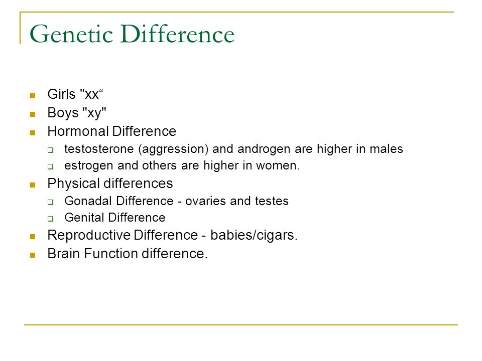 Genetic Difference Girls xx Boys xy Hormonal Difference  testosterone (aggression) and androgen are higher in males  estrogen and others are higher in women.