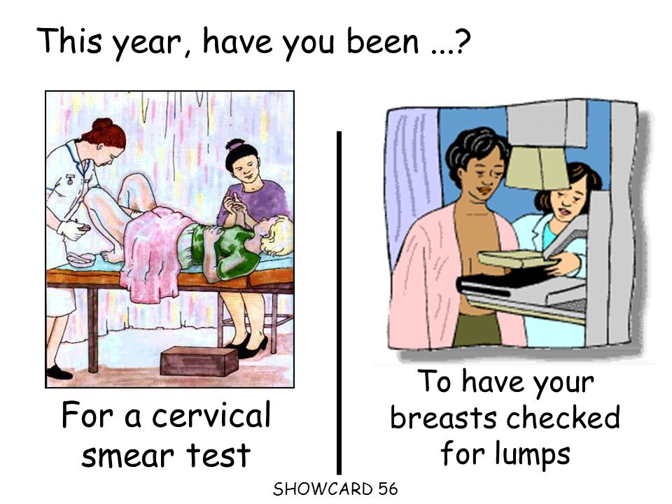 This year, have you been...? SHOWCARD 56 For a cervical smear test To have your breasts checked for lumps