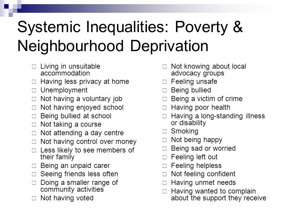 Systemic Inequalities: Poverty & Neighbourhood Deprivation  Living in unsuitable accommodation  Having less privacy at home  Unemployment  Not having a voluntary job  Not having enjoyed school  Being bullied at school  Not taking a course  Not attending a day centre  Not having control over money  Less likely to see members of their family  Being an unpaid carer  Seeing friends less often  Doing a smaller range of community activities  Not having voted  Not knowing about local advocacy groups  Feeling unsafe  Being bullied  Being a victim of crime  Having poor health  Having a long-standing illness or disability  Smoking  Not being happy  Being sad or worried  Feeling left out  Feeling helpless  Not feeling confident  Having unmet needs  Having wanted to complain about the support they receive