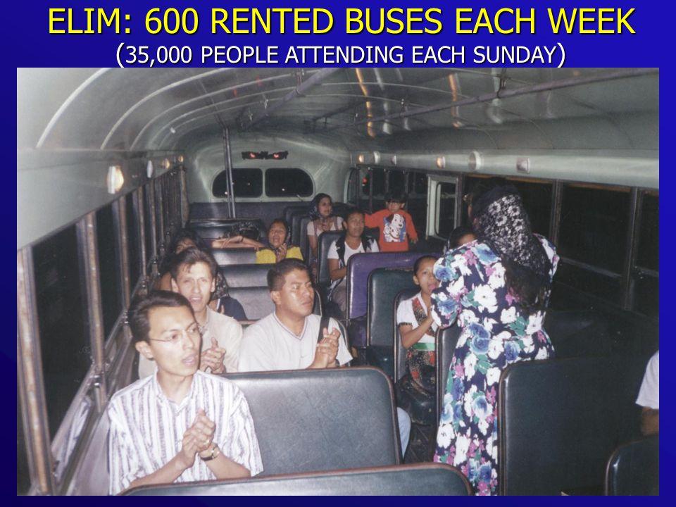 ELIM: 600 RENTED BUSES EACH WEEK ( 35,000 PEOPLE ATTENDING EACH SUNDAY )