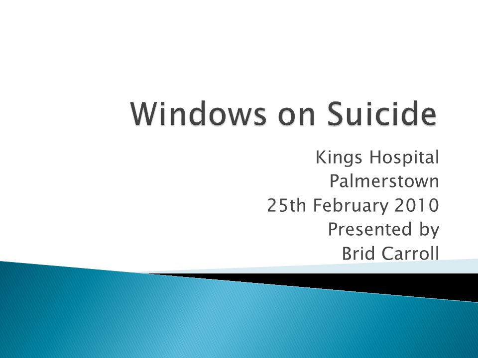  Suicide is death resulting from a intentional, self-inflicted act  Suicidal behaviour comprises both suicide and acts of self-harm that do not have a fatal outcome.