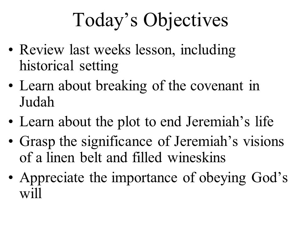 Jeremiah's complaint (vss.1-4) –Why does the way of the wicked prosper.