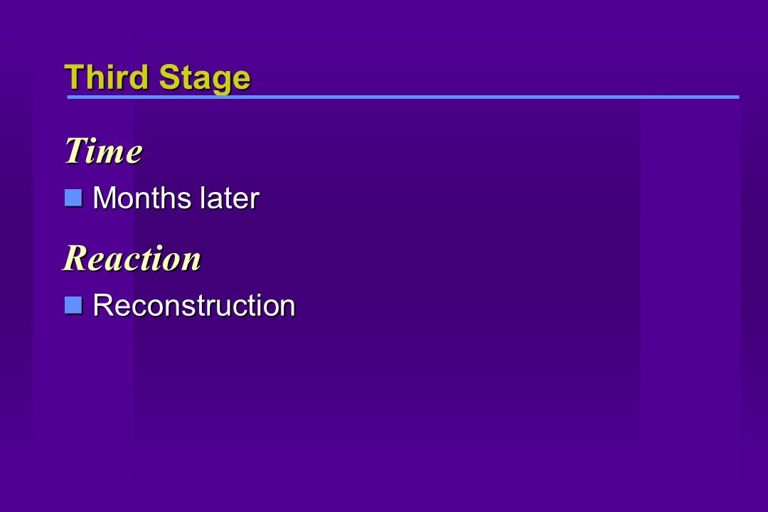Third Stage Time Months later Months laterReaction Reconstruction Reconstruction