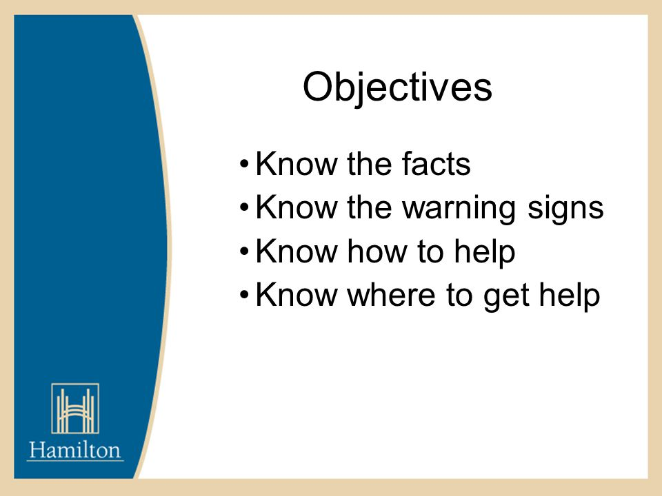 Objectives Know the facts Know the warning signs Know how to help Know where to get help
