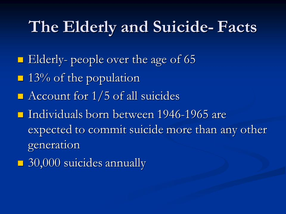 The Elderly and Suicide- Facts Elderly- people over the age of 65 Elderly- people over the age of 65 13% of the population 13% of the population Account for 1/5 of all suicides Account for 1/5 of all suicides Individuals born between 1946-1965 are expected to commit suicide more than any other generation Individuals born between 1946-1965 are expected to commit suicide more than any other generation 30,000 suicides annually 30,000 suicides annually