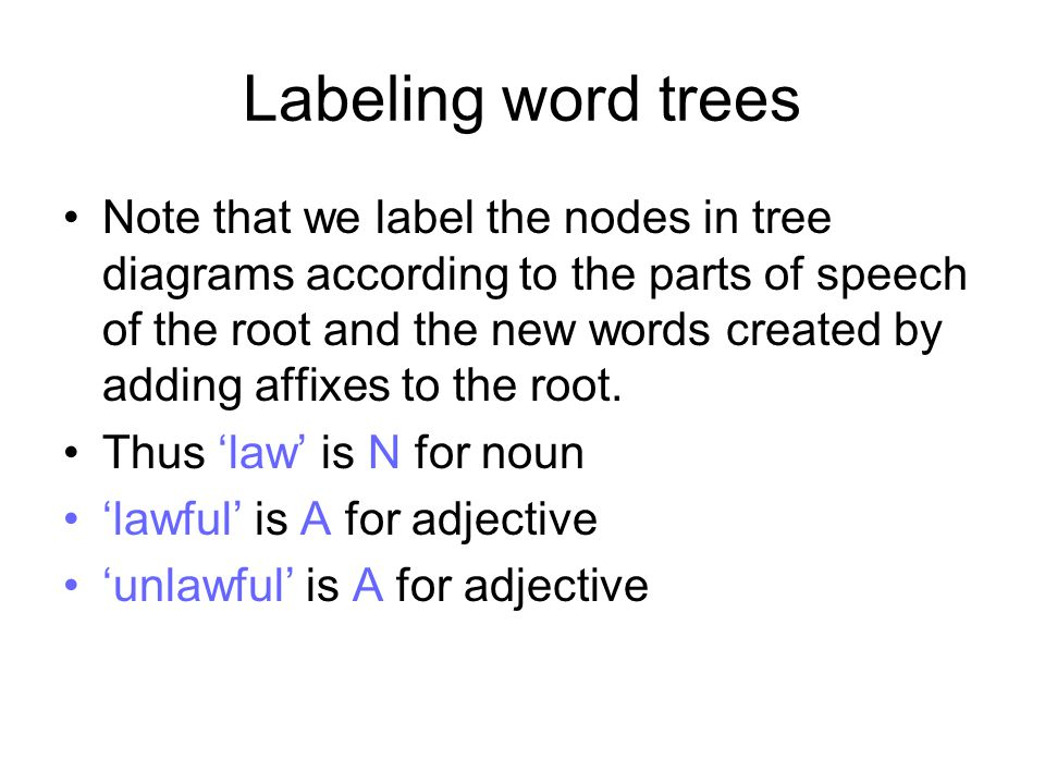 Labeling word trees Note that we label the nodes in tree diagrams according to the parts of speech of the root and the new words created by adding aff