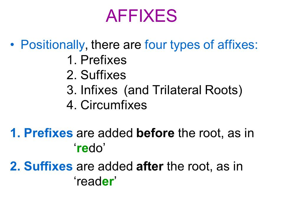 AFFIXES Positionally, there are four types of affixes: 1. Prefixes 2. Suffixes 3. Infixes (and Trilateral Roots) 4. Circumfixes 1. Prefixes are added