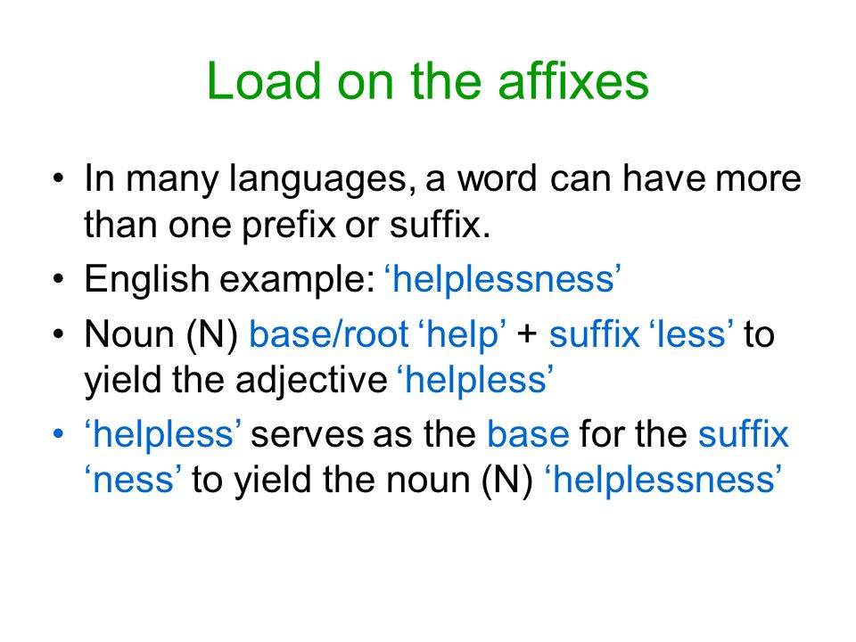 Load on the affixes In many languages, a word can have more than one prefix or suffix. English example: 'helplessness' Noun (N) base/root 'help' + suf