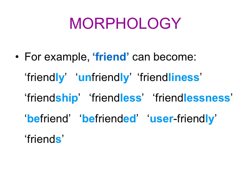 MORPHOLOGY For example, 'friend' can become: 'friendly' 'unfriendly' 'friendliness' 'friendship' 'friendless' 'friendlessness' 'befriend' 'befriended'