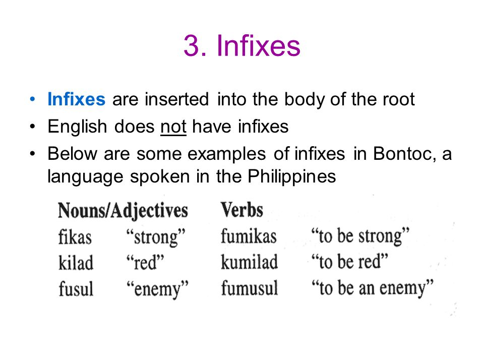 3. Infixes Infixes are inserted into the body of the root English does not have infixes Below are some examples of infixes in Bontoc, a language spoke