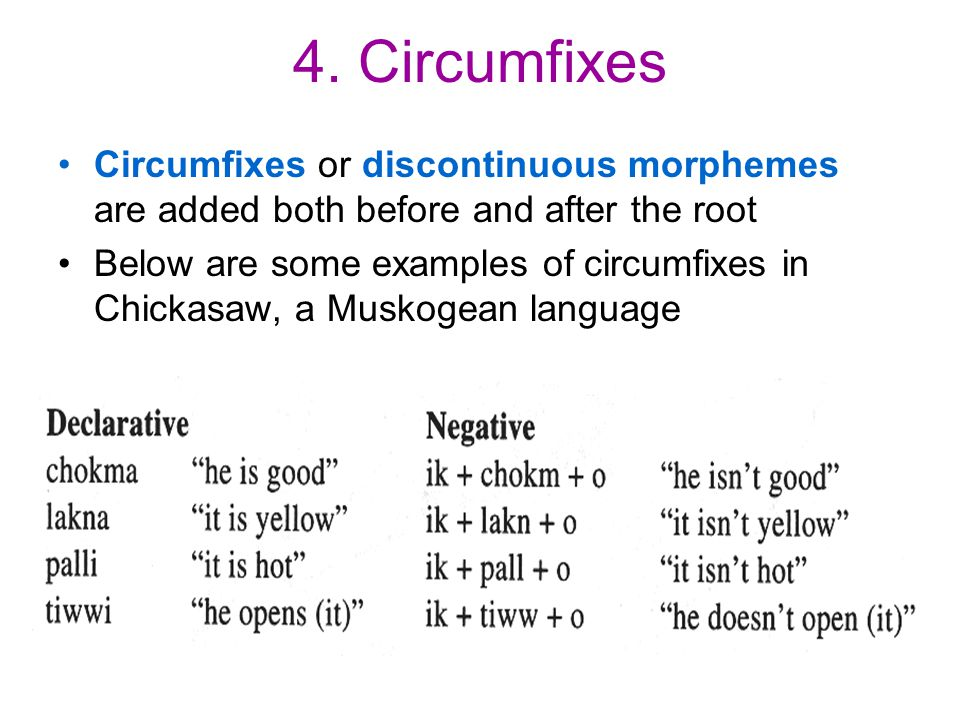 4. Circumfixes Circumfixes or discontinuous morphemes are added both before and after the root Below are some examples of circumfixes in Chickasaw, a
