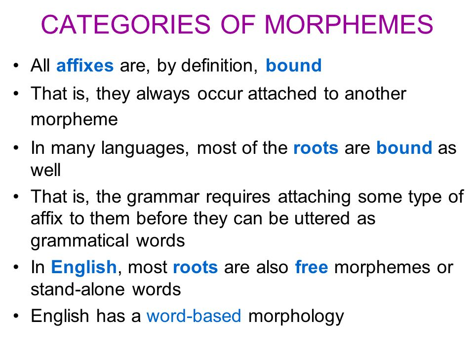 CATEGORIES OF MORPHEMES All affixes are, by definition, bound That is, they always occur attached to another morpheme In many languages, most of the r