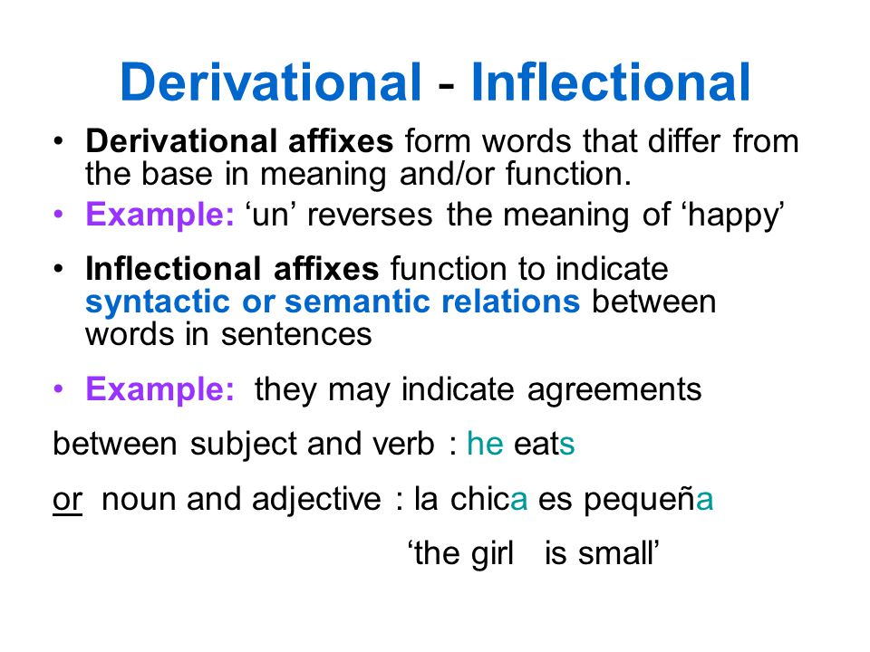 Derivational - Inflectional Derivational affixes form words that differ from the base in meaning and/or function. Example: 'un' reverses the meaning o