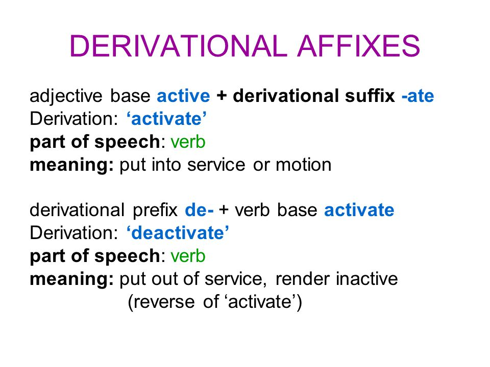 DERIVATIONAL AFFIXES adjective base active + derivational suffix -ate Derivation: 'activate' part of speech: verb meaning: put into service or motion