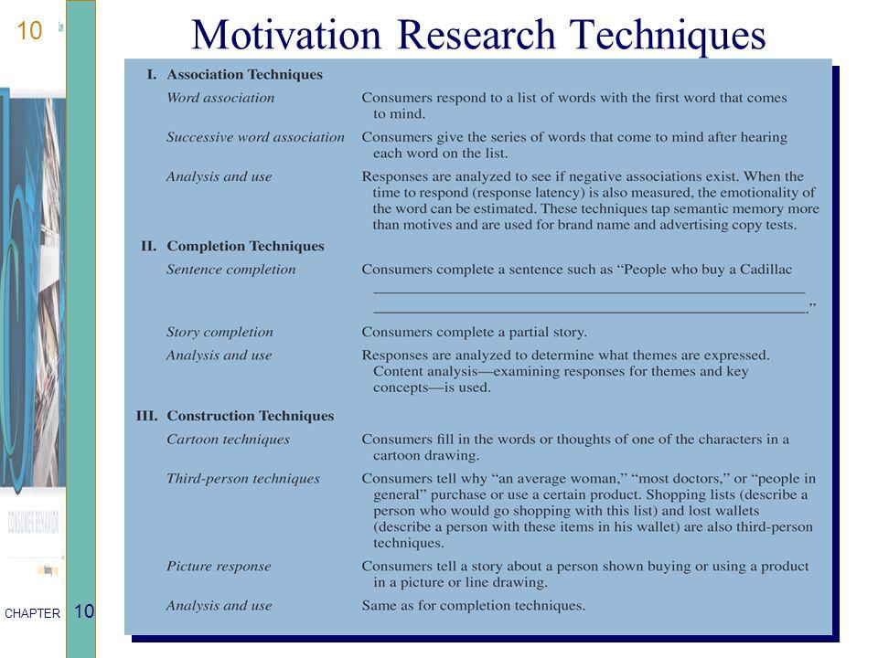 10 CHAPTER 10 Motivation Research Techniques