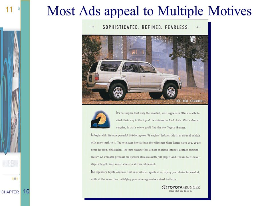 11 CHAPTER 10 Most Ads appeal to Multiple Motives