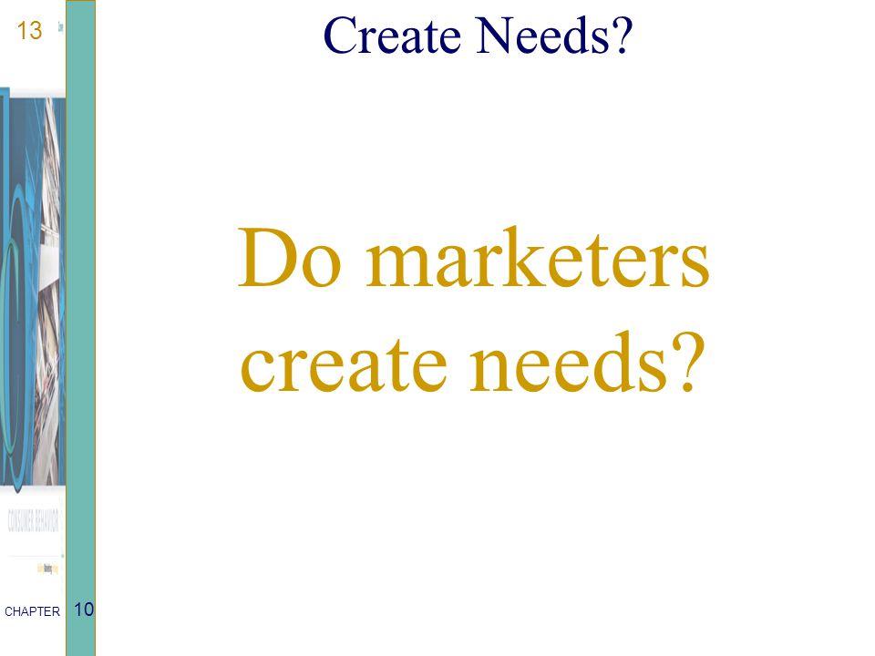 13 CHAPTER 10 Create Needs? Do marketers create needs?