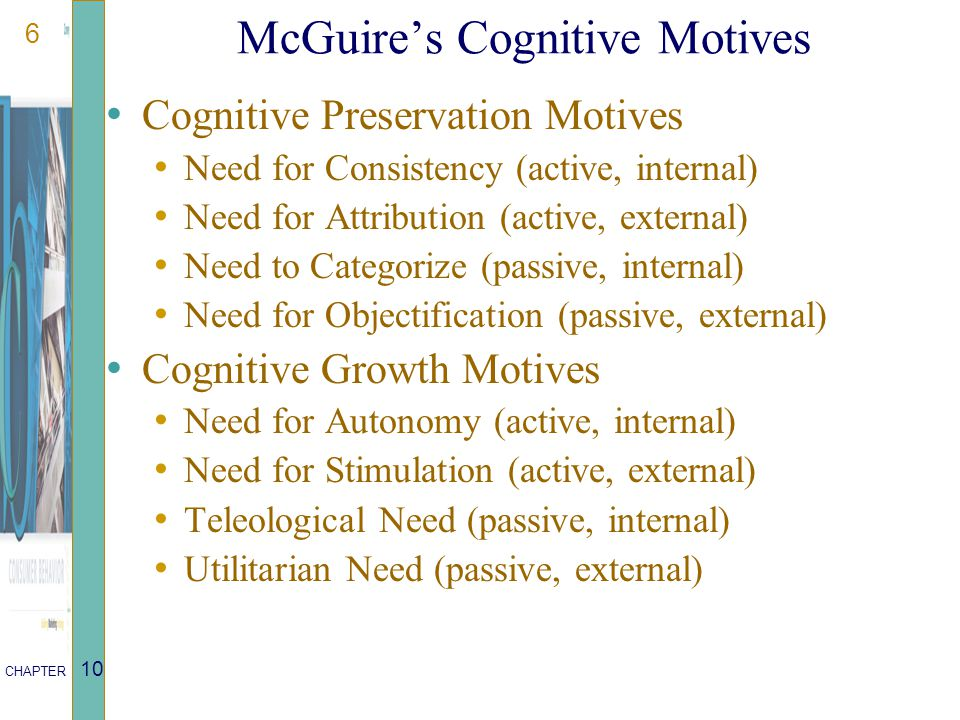 7 CHAPTER 10 McGuire's Affective Motives Affective Preservation Motives: Need for Tension Reduction (active, internal) Need for Expression (active, external) Need for Ego Defense (passive, internal) Need for Reinforcement (passive, external) Affective Growth Motives: Need for Assertion (active, internal) Need for Affiliation (active, external) Need for Identification (passive, internal) Need for Modeling (passive, external)
