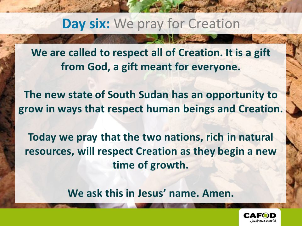 Day six: We pray for Creation We are called to respect all of Creation.