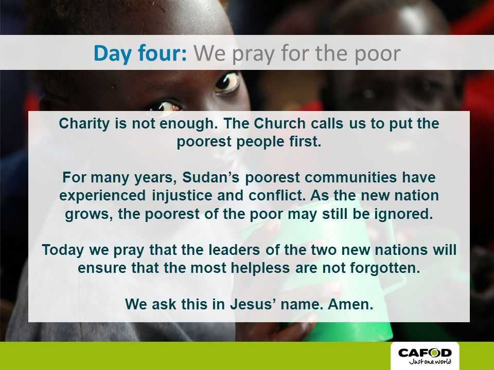 Day five: We pray for solidarity Solidarity means that we all belong to each other and are all part of God's global family.