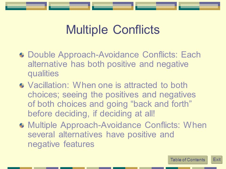 Table of Contents Exit Multiple Conflicts Double Approach-Avoidance Conflicts: Each alternative has both positive and negative qualities Vacillation: