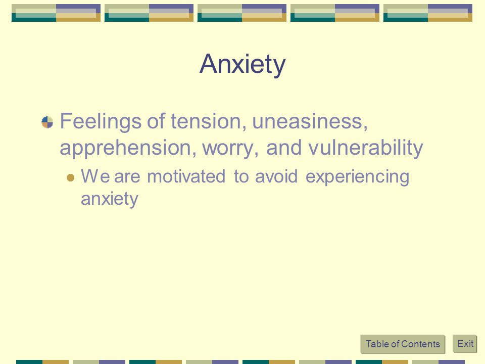 Table of Contents Exit Anxiety Feelings of tension, uneasiness, apprehension, worry, and vulnerability We are motivated to avoid experiencing anxiety