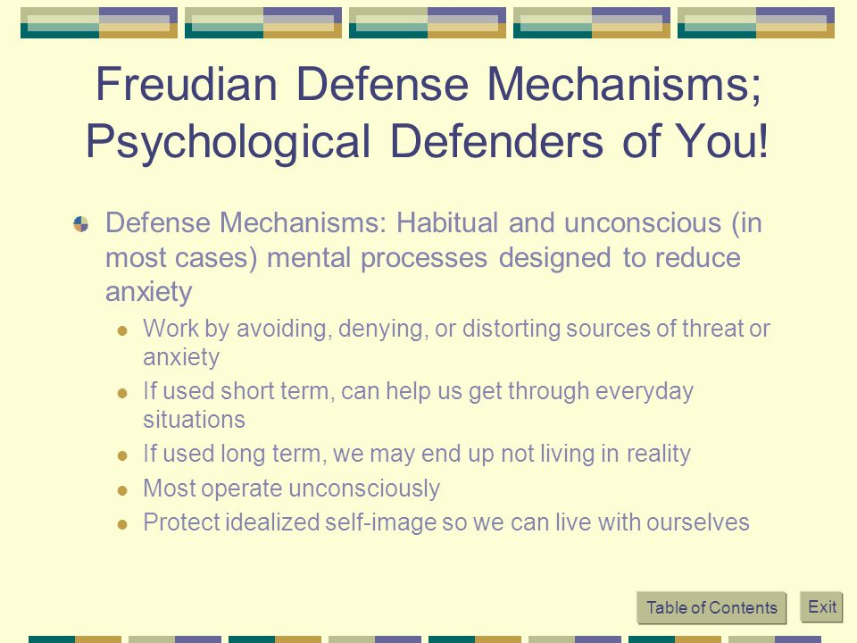 Table of Contents Exit Freudian Defense Mechanisms; Psychological Defenders of You! Defense Mechanisms: Habitual and unconscious (in most cases) menta