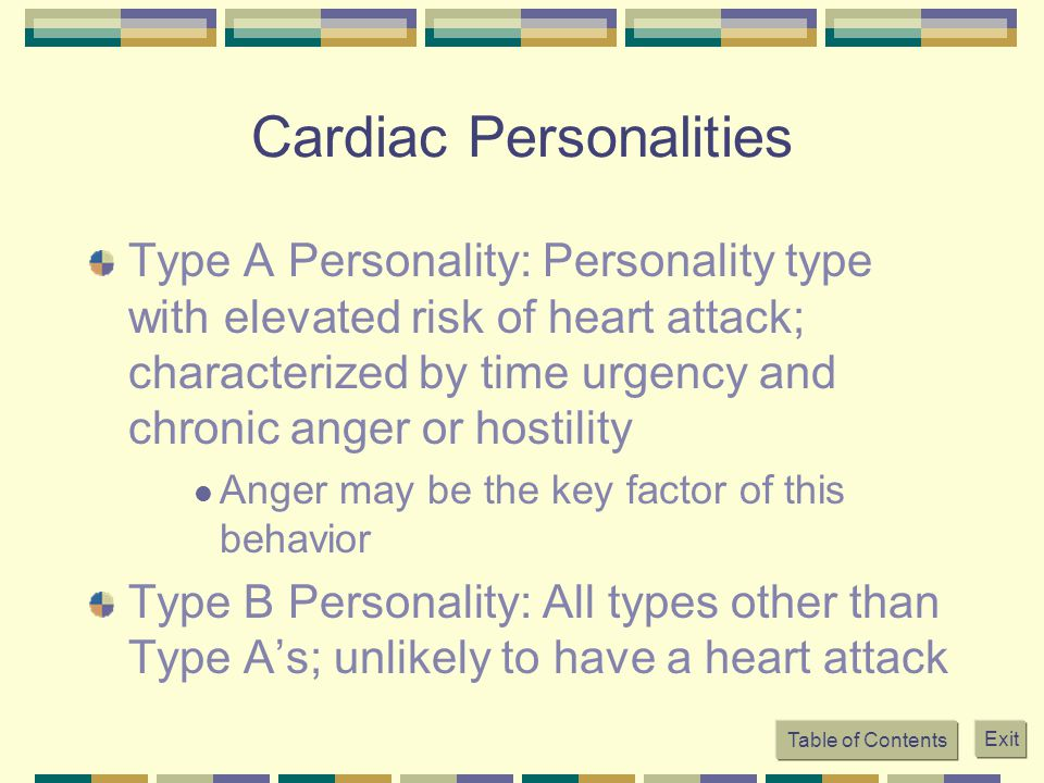 Table of Contents Exit Cardiac Personalities Type A Personality: Personality type with elevated risk of heart attack; characterized by time urgency an