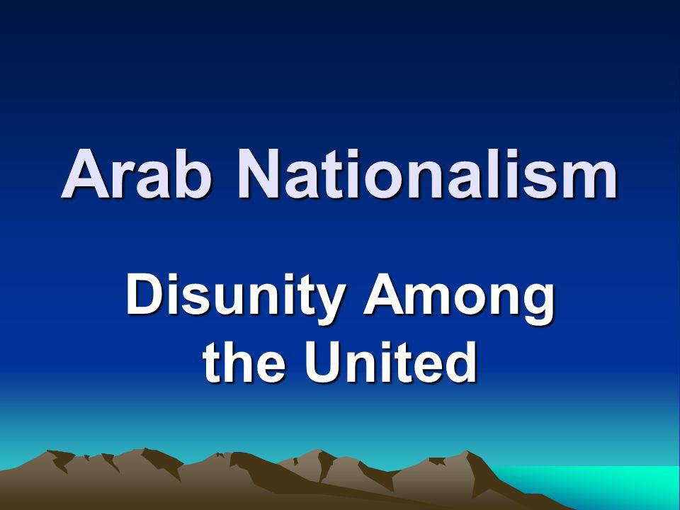 Arab Nationalism Disunity Among the United