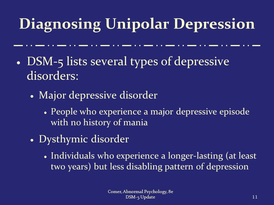 Diagnosing Unipolar Depression  DSM-5 lists several types of depressive disorders:  Major depressive disorder  People who experience a major depres