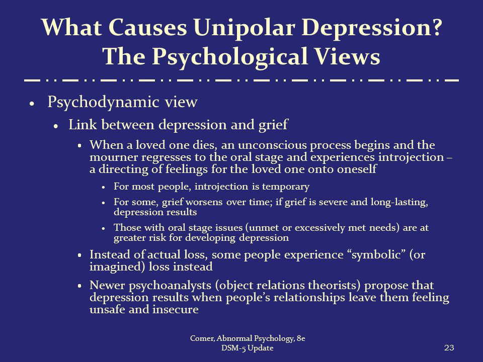 What Causes Unipolar Depression? The Psychological Views  Psychodynamic view  Link between depression and grief  When a loved one dies, an unconsci