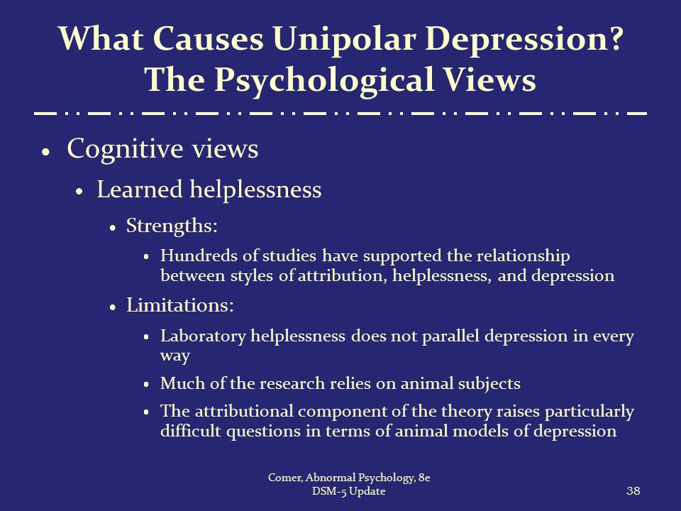 What Causes Unipolar Depression? The Psychological Views  Cognitive views  Learned helplessness  Strengths:  Hundreds of studies have supported th