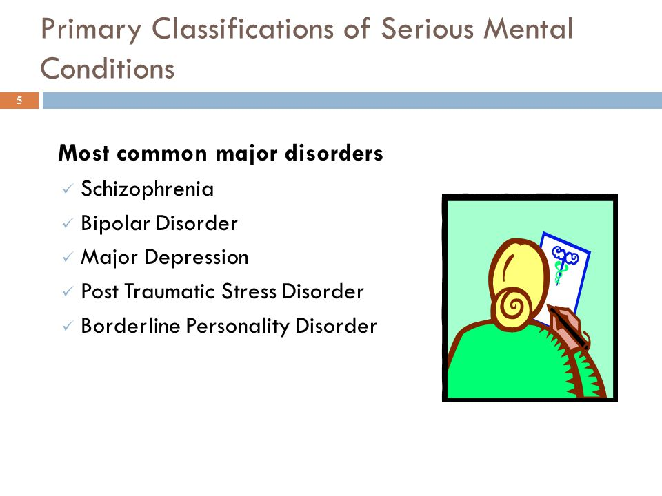 Primary Classifications of Serious Mental Conditions Most common major disorders Schizophrenia Bipolar Disorder Major Depression Post Traumatic Stress Disorder Borderline Personality Disorder 5