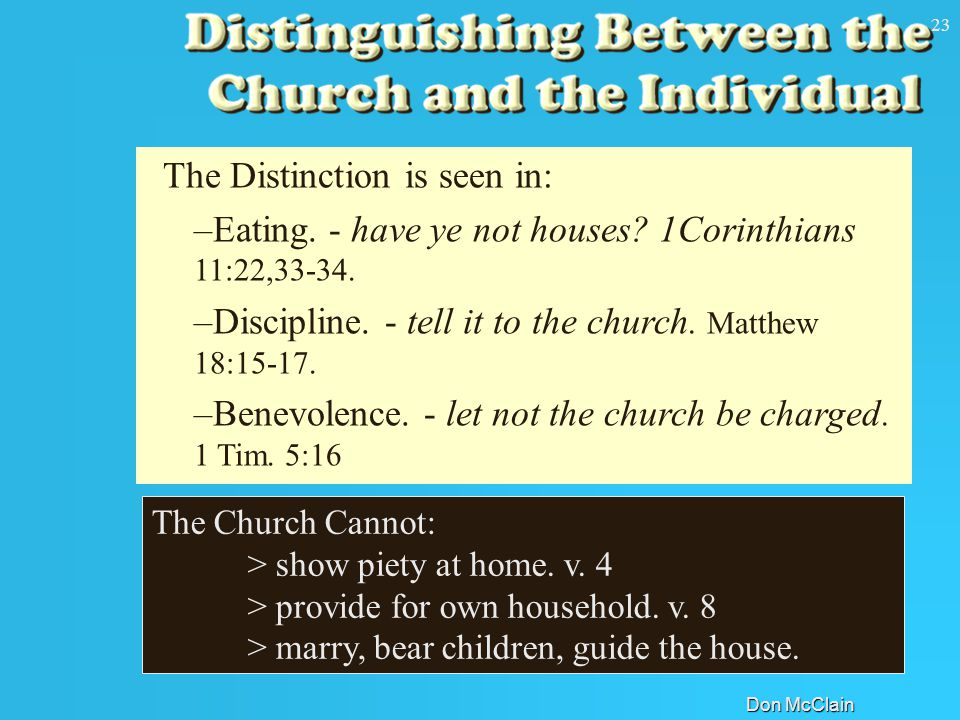 Don McClain 23 The Church Cannot: > show piety at home.