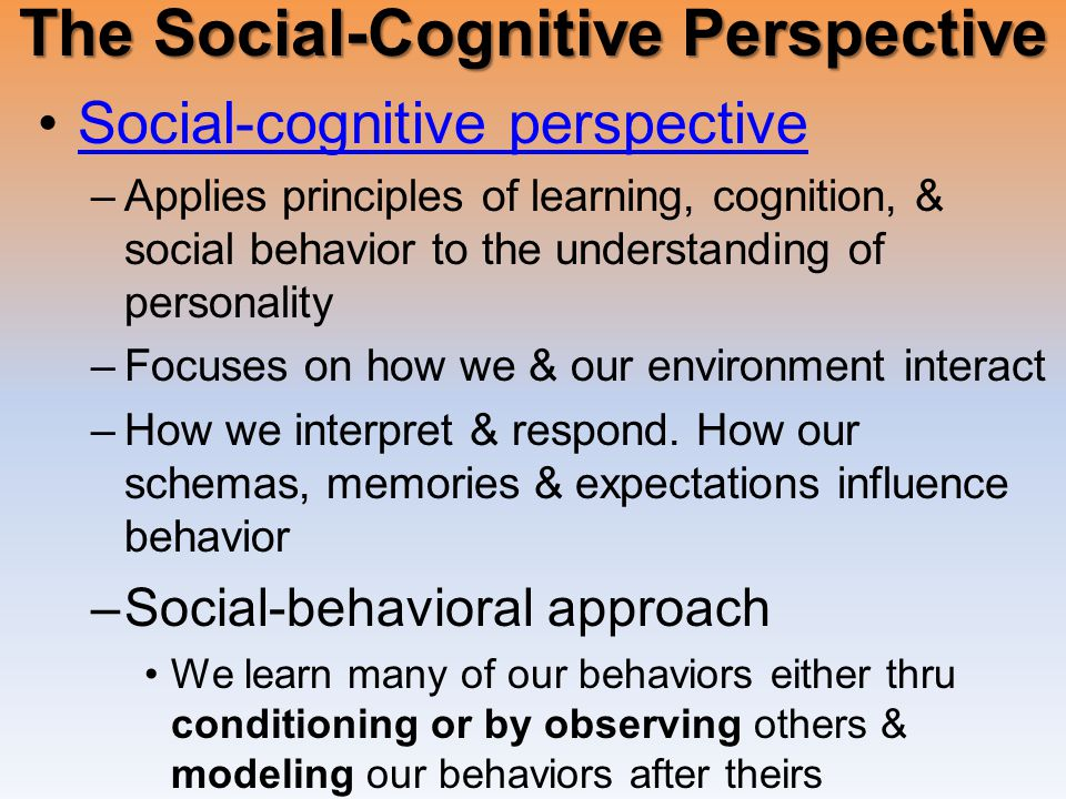Social-cognitive perspective –Applies principles of learning, cognition, & social behavior to the understanding of personality –Focuses on how we & our environment interact –How we interpret & respond.
