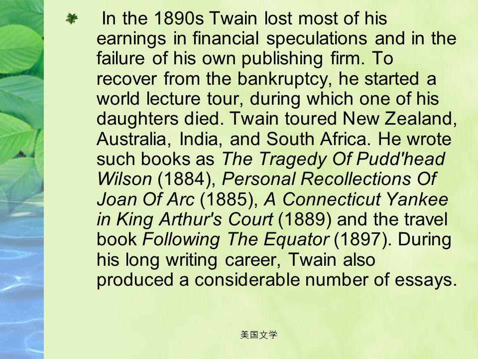 美国文学 In 1864 Twain left for California, and worked in San Francisco as a reporter. He visited Hawaii as a correspondent for The Sacramento Union, publ