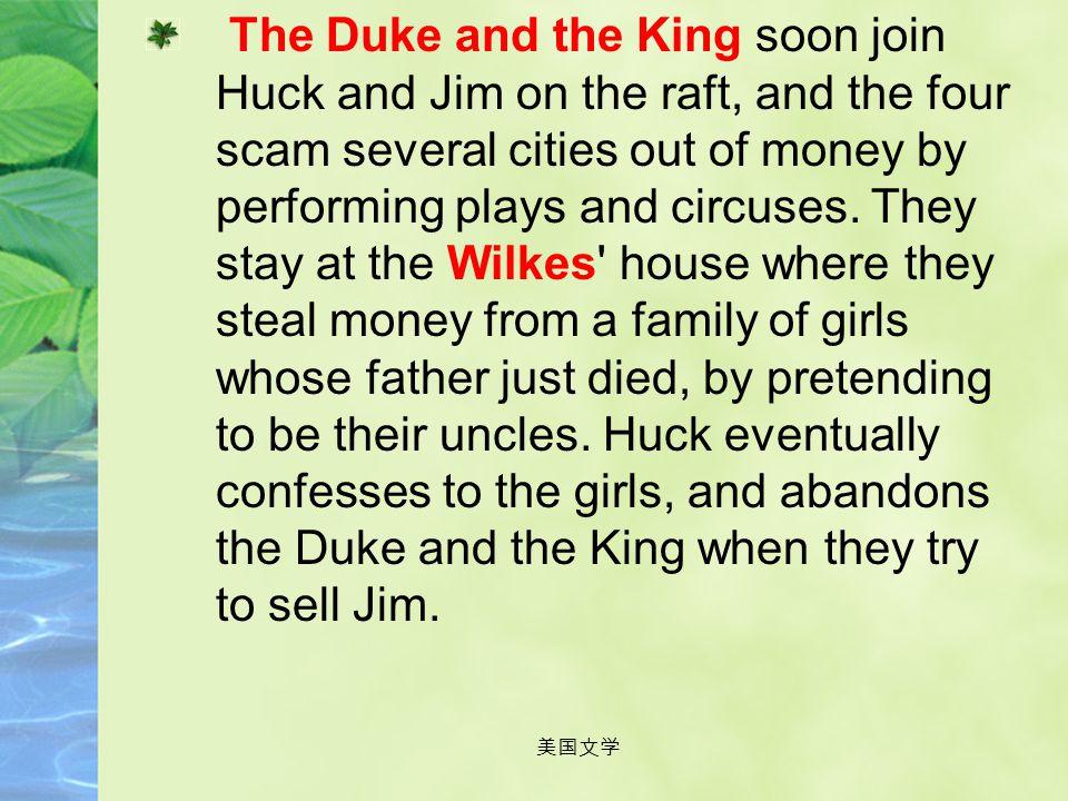 美国文学 1. Plot Summary Huck lives with Miss Watson who is trying to civilize him. He and Tom Sawyer become friends with her slave Jim. Huck's drunk fath
