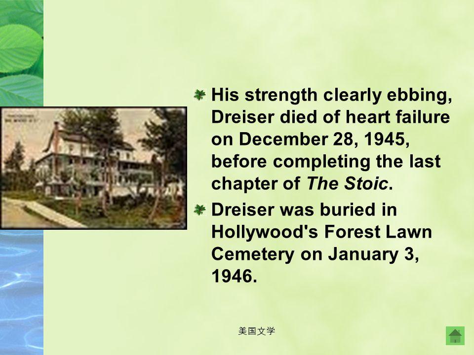 美国文学 In 1898 Dreiser married Sara White, a Missouri schoolteacher, but the marriage was unhappy. Dreiser separated permanently from her in 1909, but n
