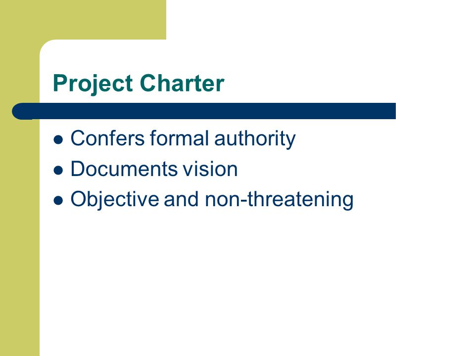 Project Charter Confers formal authority Documents vision Objective and non-threatening