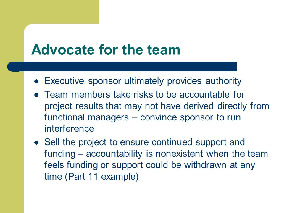 Advocate for the team Executive sponsor ultimately provides authority Team members take risks to be accountable for project results that may not have derived directly from functional managers – convince sponsor to run interference Sell the project to ensure continued support and funding – accountability is nonexistent when the team feels funding or support could be withdrawn at any time (Part 11 example)