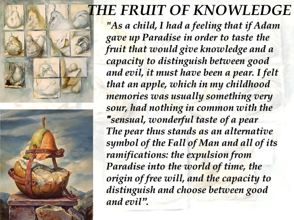 THE FRUIT OF KNOWLEDGE As a child, I had a feeling that if Adam gave up Paradise in order to taste the fruit that would give knowledge and a capacity to distinguish between good and evil, it must have been a pear.