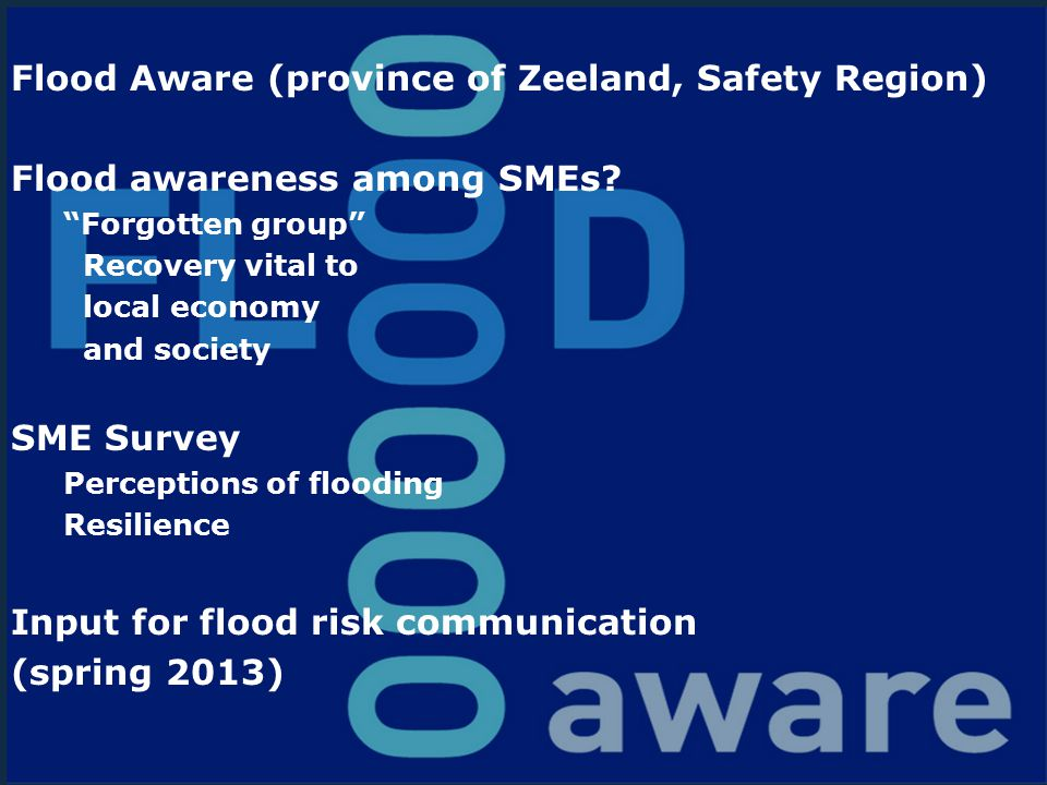 "www.hkv.nl Flood Aware (province of Zeeland, Safety Region) Flood awareness among SMEs? ""Forgotten group"" Recovery vital to local economy and society"